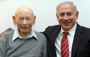 The late Ben Zion Netanyahu and his son, by Avi Ohayon/Government Press Office