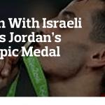 The Jewish Daily Forward's headline of Jordan's Ahmad Abu Ghosh's Olympic gold medal.