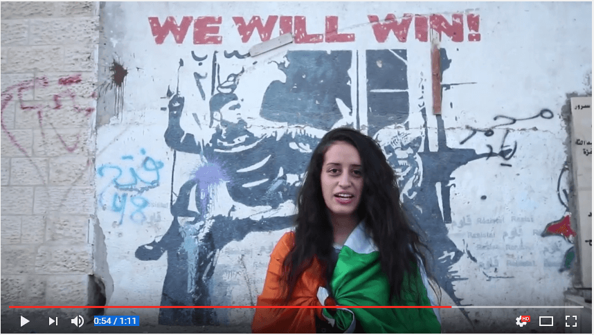 Screenshot from a Lajee Center video thanking Celtic fans. The center is a Palestinian cultural organization in the Aida Refugee Camp.