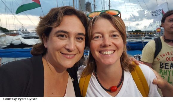 Mayor of Barcelona Ada Colau with member of the European Parliment Malin Bjork at the Women's Boat to Gaza send off in Barcelona, September 14, 2016. (Photo:Vyara Gylsen/Women's Boat to Gaza)