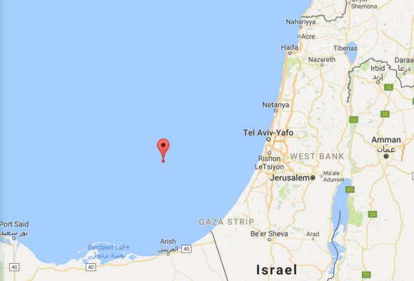 Last recorded position of the Zaytouna-Oliva sailboats before they were taken into Israeli naval custody shortly before 4pm local time.