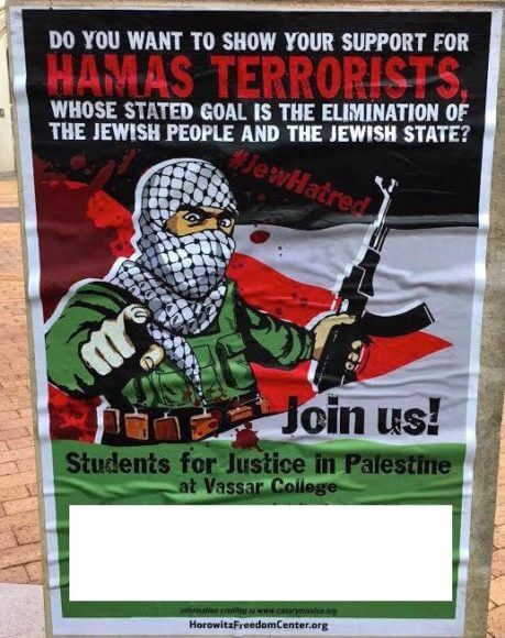 Poster distributed by the David Horowitz Freedom Center. Named target on poster was whited out by Hudson Valley BDS, which published this image