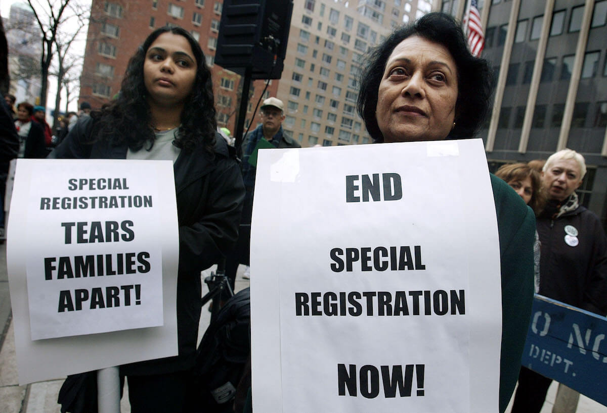 "Protest against NSEERS ""special registration"" in late 2003. (Photo: Mario Tama/Getty Images)"