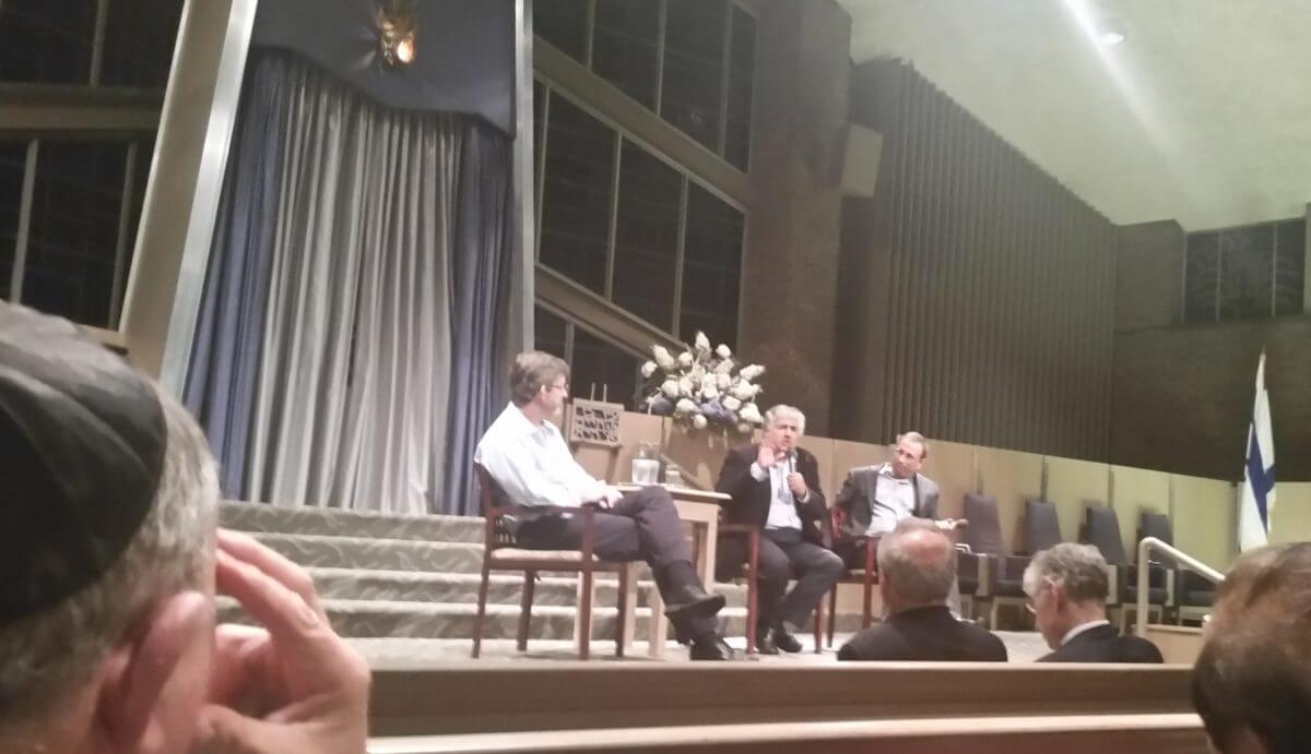 Mark Rosing, Jonathan Kuttab, and Paul Warhit (l to r) on dais at Temple Israel sanctuary, Nov. 29, 2016