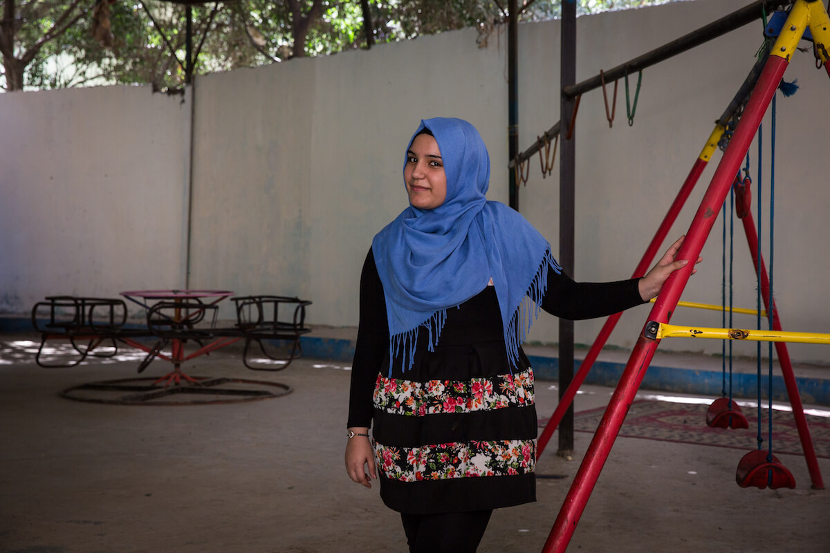 """Bourj el Barajneh Camp, Beirut, Lebanon - 15/10/2016: Malak is originally from Akka. """"I`m from Lebanon, I was born in Lebanon. But I`m from Palestinian origins. I don't know much about it, but I`ve been told that it`s such a beautiful place, I think it's famous for its fish, and that's it. I wish I could go, and see it, and get to know that country that I descend from. And that's it. And of course, this is everyone`s dream, to free Palestine, and to become a free country, when all would be able to go back, so we can live in peace, and be free."""" (Photo: Celia Peterson)"""