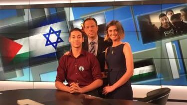 One of the rare times the mainstream media paid attention: Laila Abdelaziz with Jake Tapper and Tariq Abu Khdeir in the CNN studio in June, 2015 (photo by Karmah Elmusa)