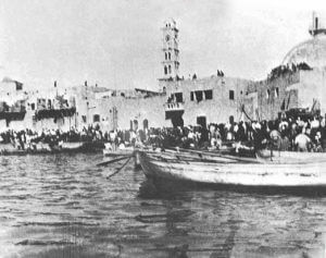 The ethnic cleansing of Jaffa, 1948, as survivors are rescued by boats. Photographer unknown.