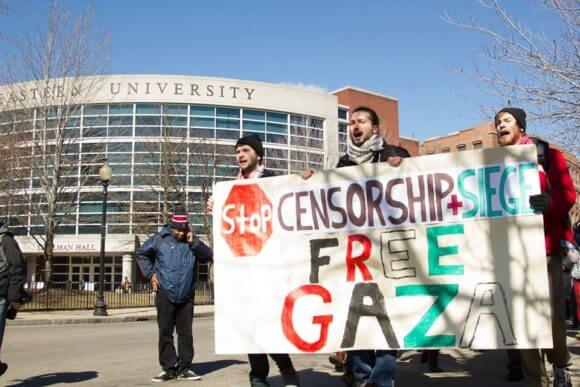 Palestinian rights protest in March 2014. (Photo: Northeastern SJP/ Facebook)
