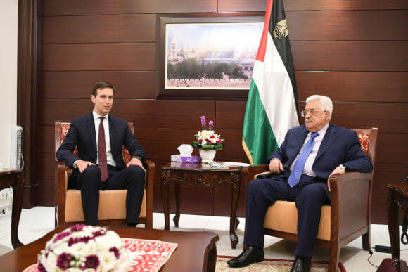 Palestinian President Mahmoud Abbas meets with the American delegation led by the advisor to U.S. President Jared Kouchner, in the West Bank city of Ramallah, on August 24, 2017. (Photo: Osama Falah/APA Images)
