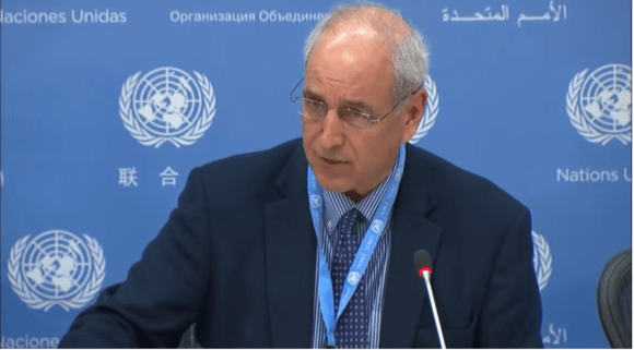 S. Michael Lynk at UN press conference on Oct. 26, 2017.