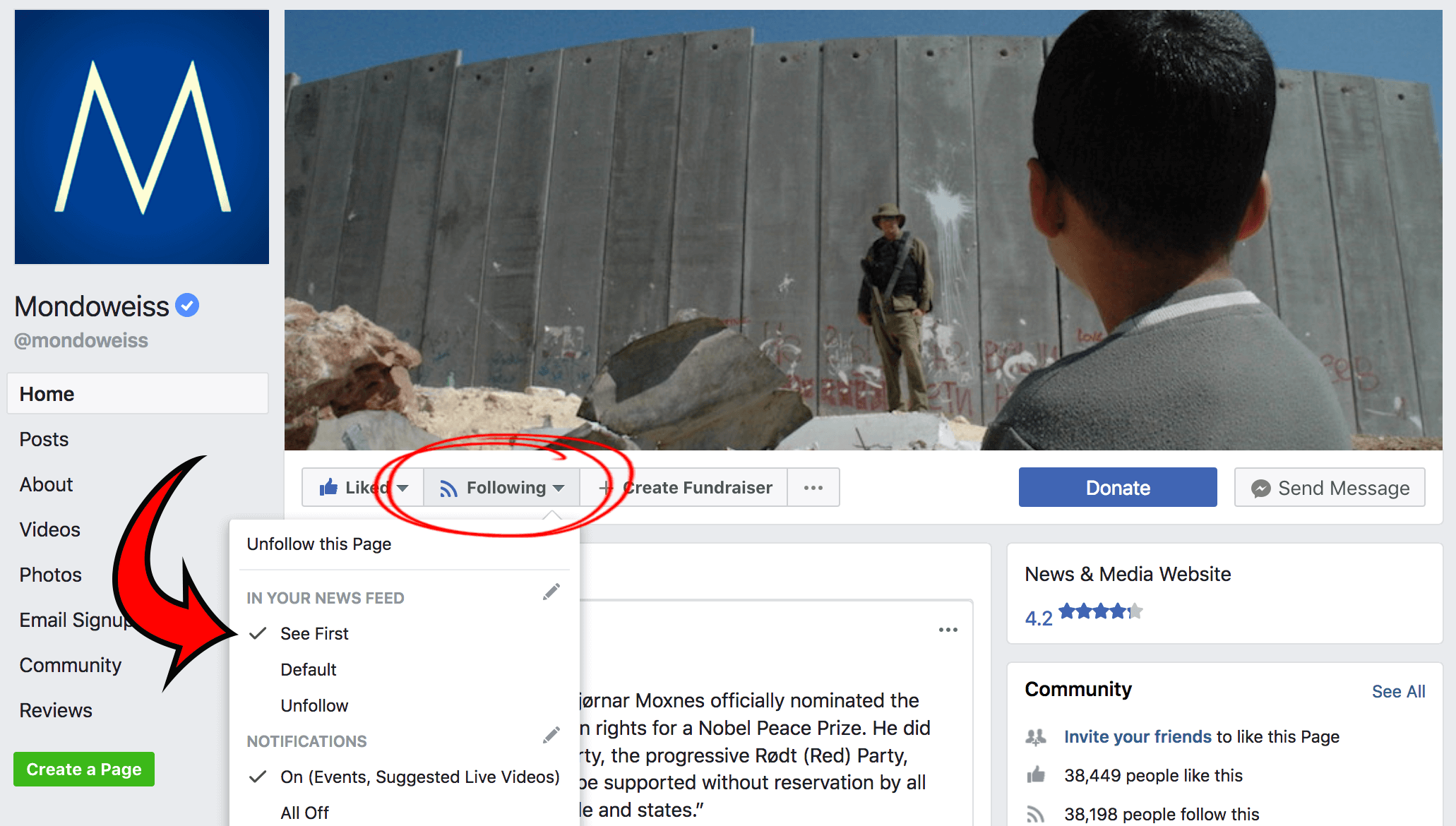 Keep getting Mondoweiss content after Facebook's news feed changes