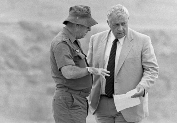 Israeli Defense Minister Ariel Sharon and IDF Chief of Staff Rafael Eitan in Lebanon in 1982. (Photo: David Rubinger/CORBIS)