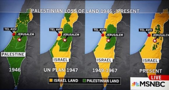 One of the offending maps is the MSNBC display that recently caused a stir from by Israel's apologists.
