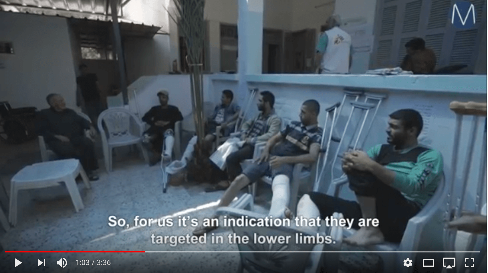 "Screenshot from the Mondoweiss video ""Médecins Sans Frontières clinic overwhelmed by Palestinians wounded during March of Return"""