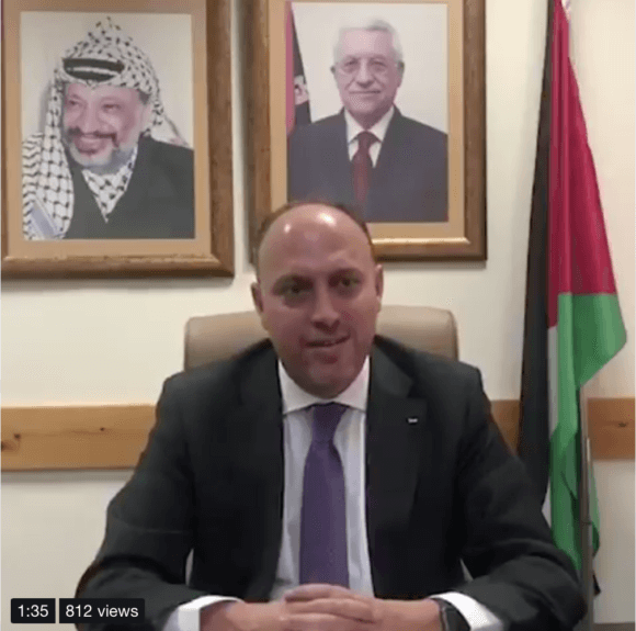 Palestinian Ambassador Husam Zomlot issues a goodbye message as the PLO Mission in Washington DC closes. (Photo: screen shot from Twitter)