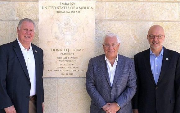 David Friedman and Ted Deutch at the new US embassy in Jerusalem.