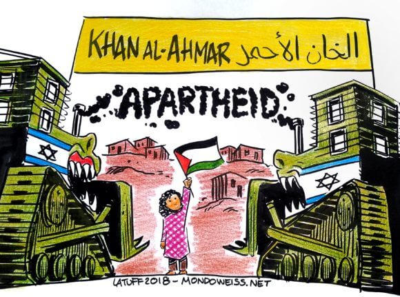 Carlos Latuff on the demolition of the Bedouin village of Khan al-Ahmar, east of Jerusalem.