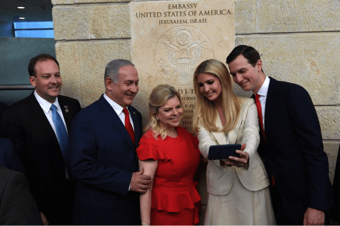 The president's daughter Ivanka Trump takes a selfie at the opening of the U.S. embassy in Jerusalem with husband and senior White House advisor Jared Kushner, Sara Netanyahu and Israeli Prime Minister Benjamin Netanyahu on May 15 2018.