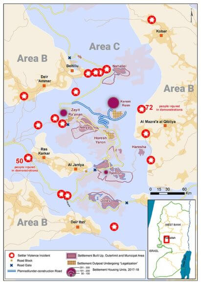 Settler violence and settlement expansion in western Ramallah