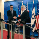 Treasury Secretary Steve Mnuchin meets Benjamin Netanyahu, Oct. 21, 2018. From Mnuchin's twitter feed.