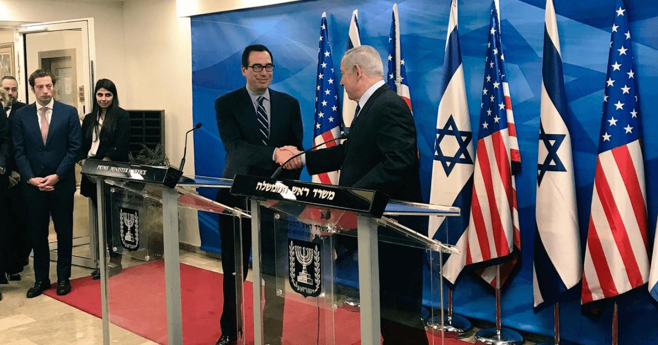 Treasury Secretary Steve Mnuchin meets Benjamin Netanyahu, Oct. 21, 2018. From Mnuchin's twitter feed.