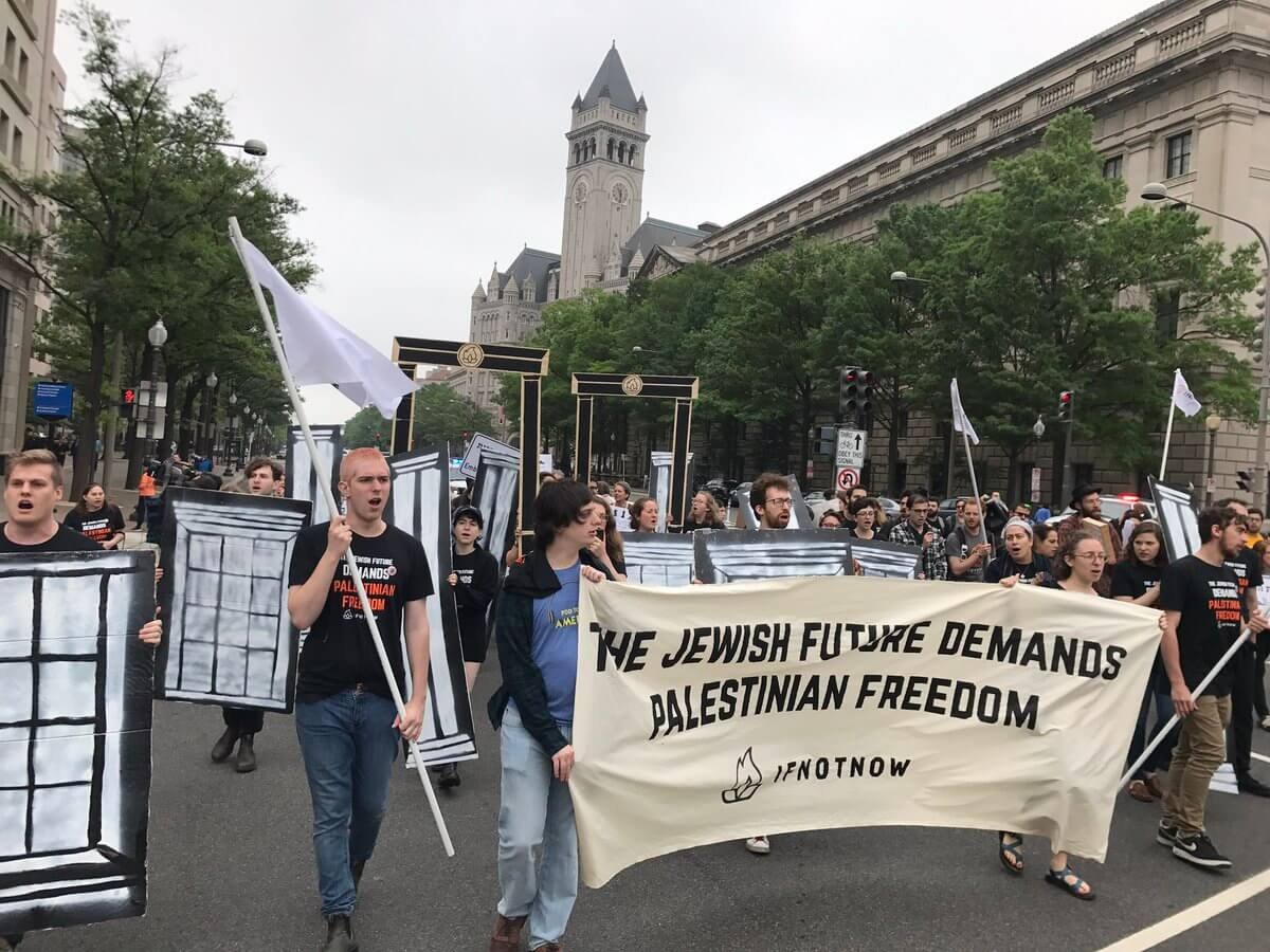 Member of IfNotNow demonstrate against US embassy move to Jerusalem, May 2018