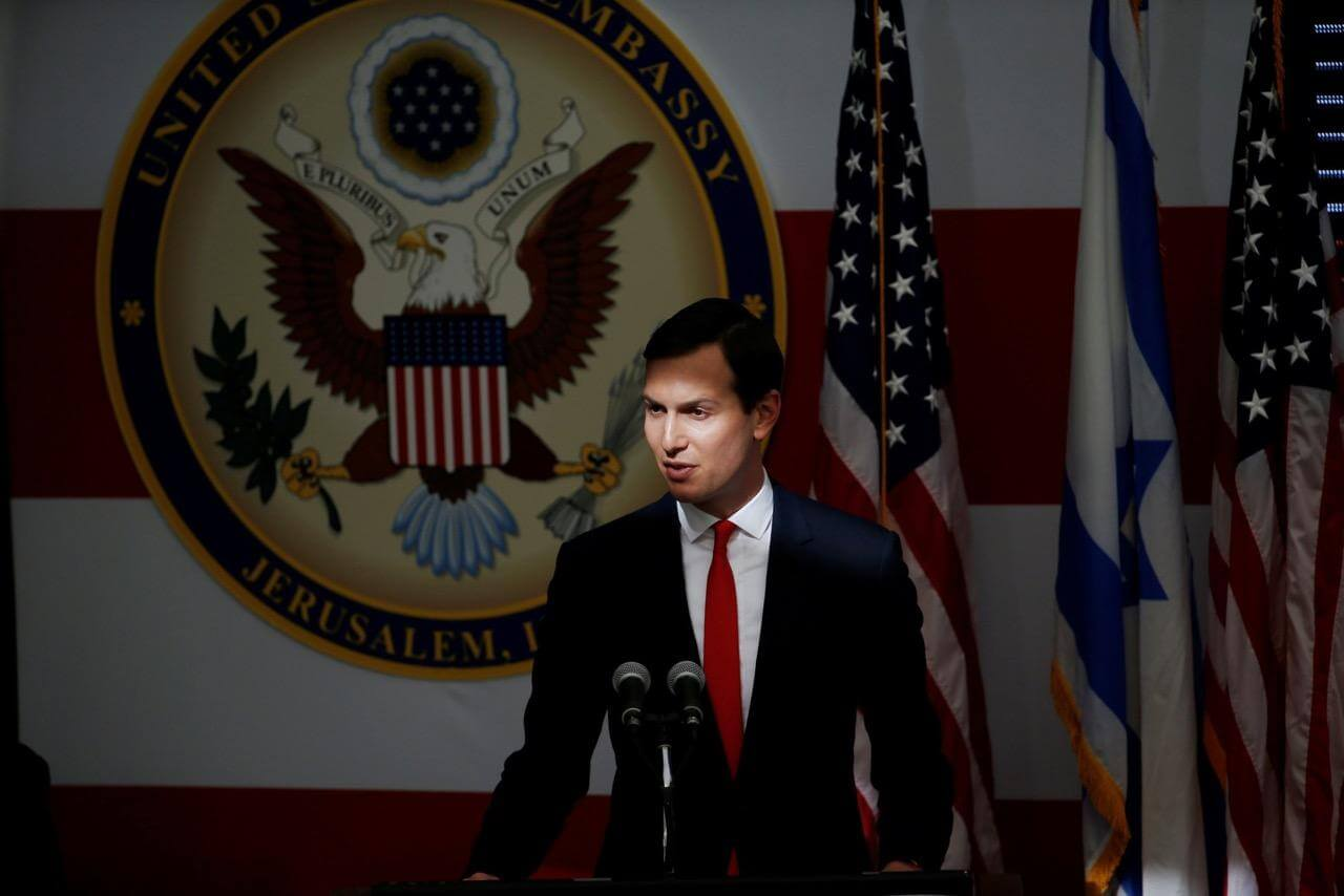 White House Senior Advisor Jared Kushner speaks during the dedication ceremony of the new U.S. embassy in Jerusalem on May 14.