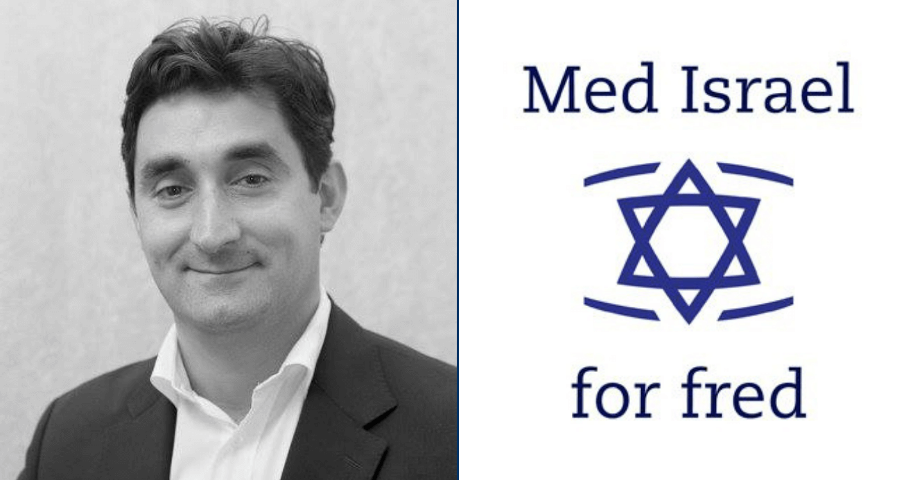 Fathi El-Abed, from his Facebook page; Med Israel for Fred logo, via Facebook
