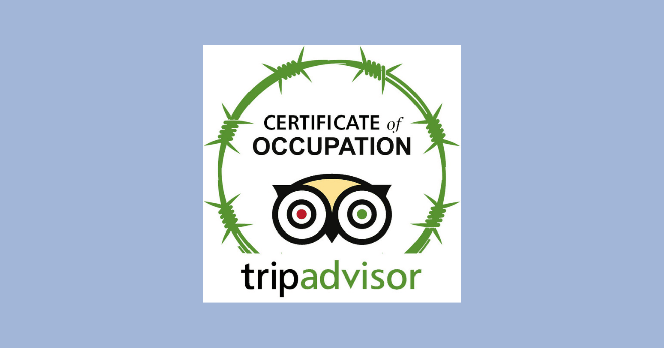 Logo from the new Amnesty International campaign to get TripAdvisor to stop listing in Israeli settlements. (Image: Amnesty International)
