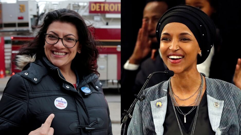 Images of Reps. Rashida Tlaib (l) and Ilhan Omar
