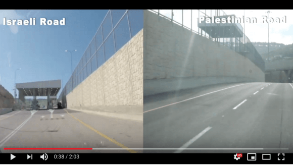 A side by side view of Israel's new Apartheid Road in the West Bank.