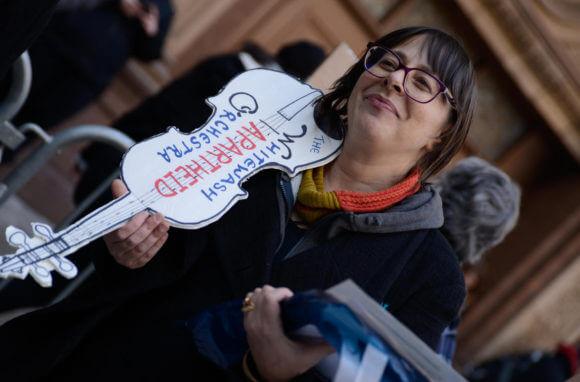 Protesting the Israeli Philharmonic Orchestra at Carnegie Hall, NYC, February 3, 2019. (Photo: Sainatee Suárez)