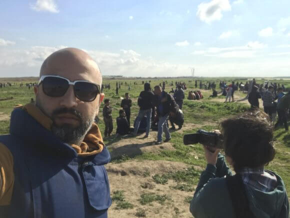 Jen Marlowe with Fadi at the Great March of Return in Gaza.