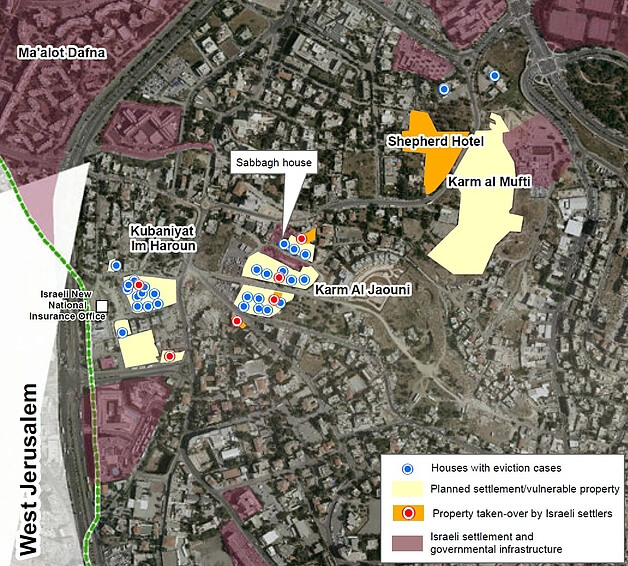 Sheikh Jarrah: settlements and Palestinians at risk of displacement - 2019