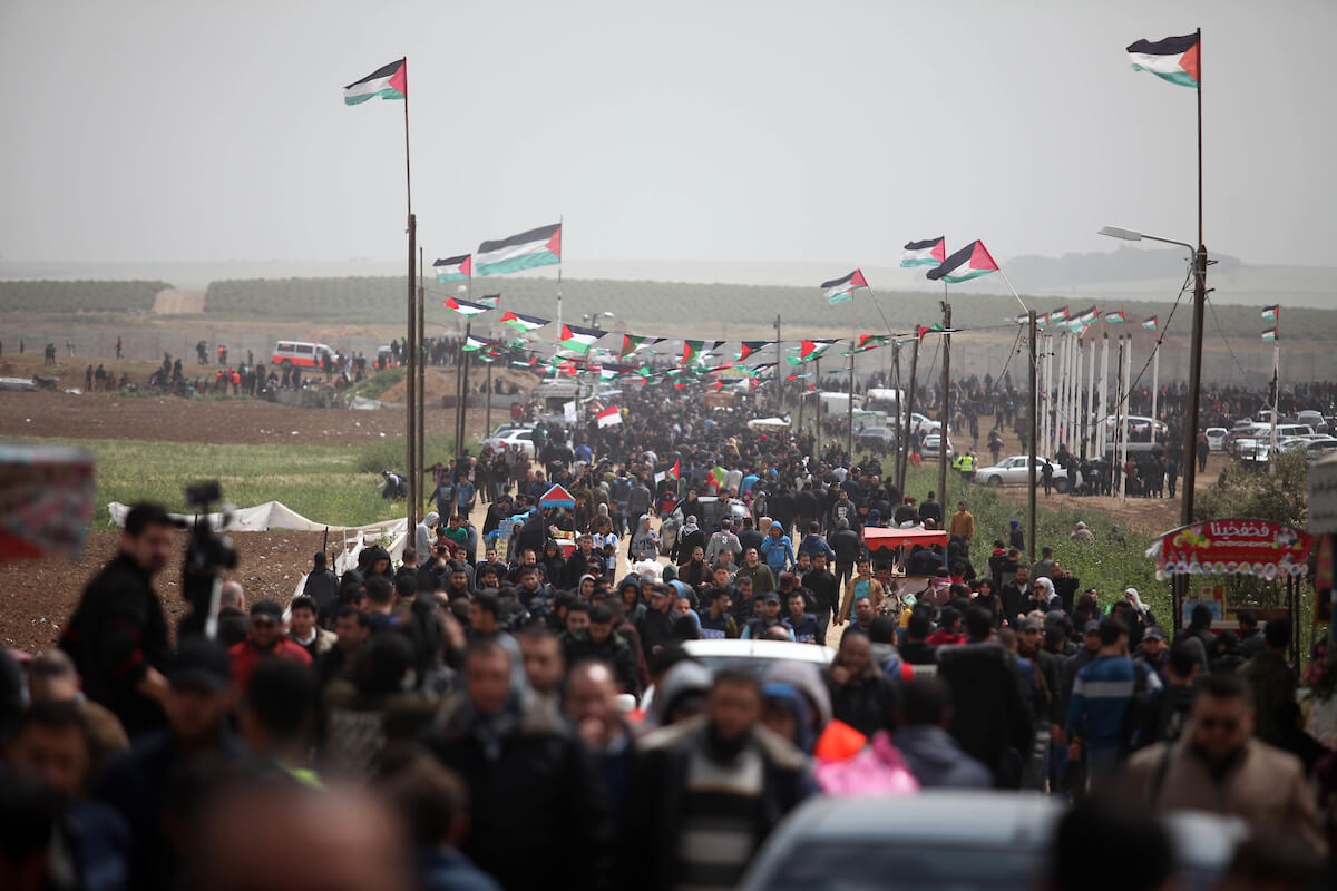 Palestinian protesters gather east of Gaza city on March 30, 2019 for the Great March of Return