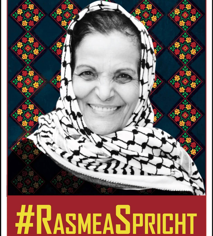 Logo for the Rasmea Spricht (Rasmea Speaks) campaign.