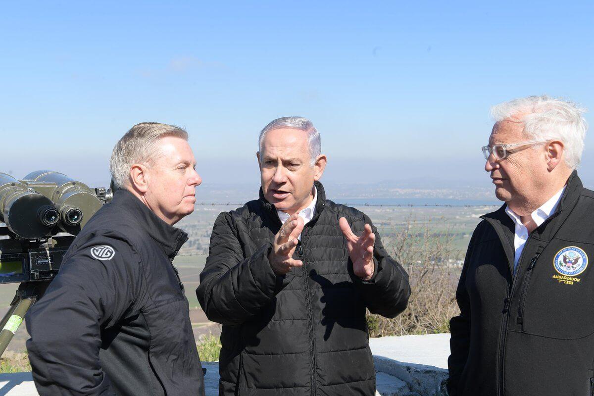 Senator Lindsey Graham, Benjamin Netanyahu, and David Friedman in the Golan Heights, March 11, 2019.