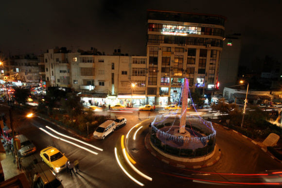 Downtown Ramallah at night, September 1, 2010. (Photo: Eyad Jadallah/APA Images)