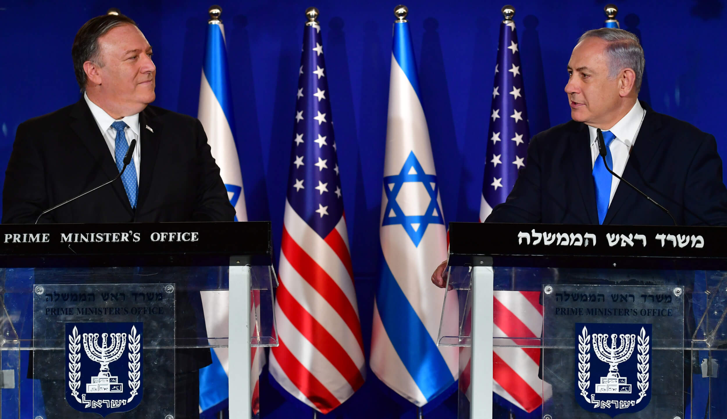 Israeli Prime Minister Benjamin Netanyahu and Secretary of State Mike Pompeo in Jerusalem, March 21, 2019. (Photo by Kobi Gideon/GPO)