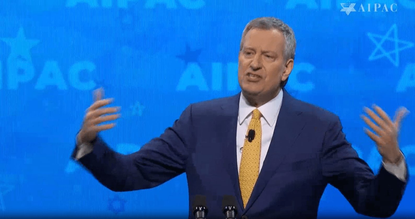NY Mayor Bill de Blasio addresses AIPAC policy conference, March 25, 2019. Screenshot from AIPAC livestream.