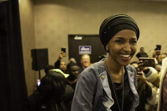 Rep. Ilhan Omar (D-MN) arrives for her victory party on election night in Minneapolis, Minnesota on November 6, 2018. (Photo: Kerem Yucel/AFP/Getty Images)