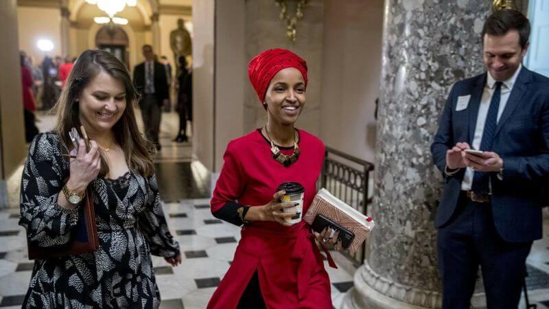 Rep. Ilhan Omar (D-MN) walking through the Capitol, January 2019. (Photo: Andrew Harnik /AP)