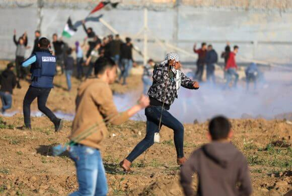 Demonstration at the Gaza fence, March 22, 2019. (Photo: Mohammed Asad)