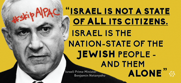 JVP urges congresspeople to avoid AIPAC because of Netanyahu's racism.