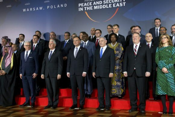 Top US leaders and other global officials at the Warsaw summit on Middle East security — which was mainly about building pressure on Iran — on February 13, 2019 (Photo: Michael Sohn/AP)