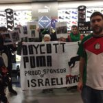 Protesters call for a boycott of the brand Puma over its sponsorship of the Israeli Football Association. (Photo: Manchester Action Palestine)