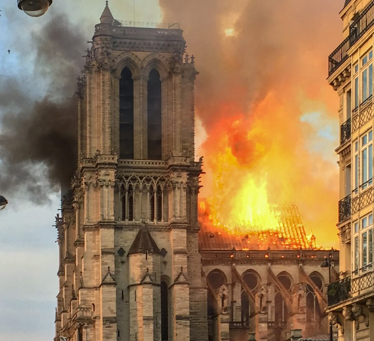 The Notre Dame Cathedral in Paris on fire, April 15, 2019. (Photo: LeLaisserPasserA38/Wikimedia)