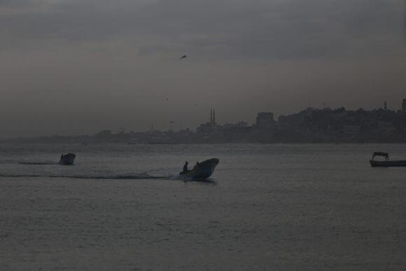 Fisherman at sea off of the coast of Gaza. (Photo: Mohammed Assad)