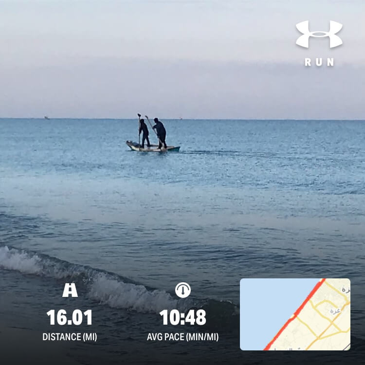 "Paddleboarders in Gaza and Marlowe's training route as displayed on her ""Map my Run"" app."