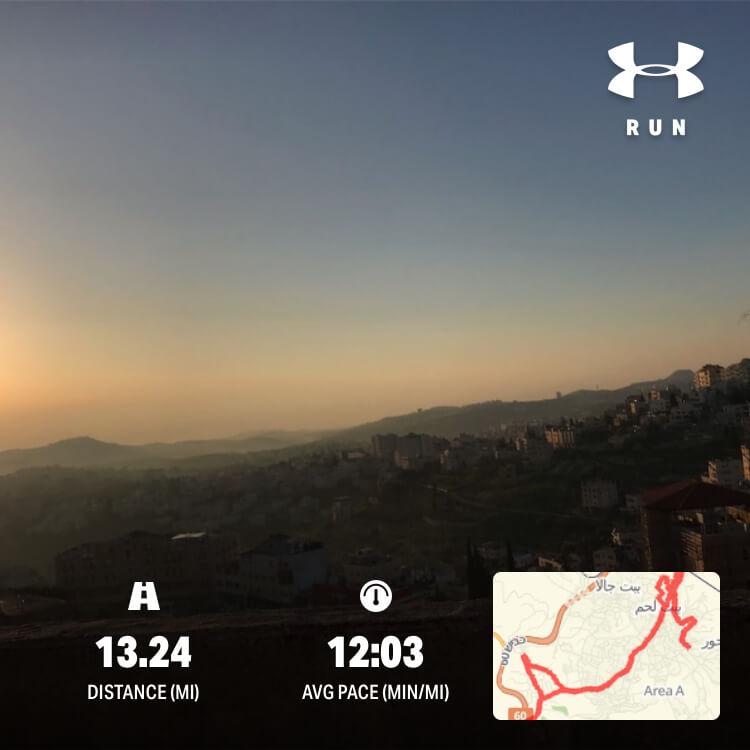 The route of the half marathon in Bethlehem, which was doubled for full marathon, along with a photo of the sun rise over Beit Sahour, that Marlowe shot while running.